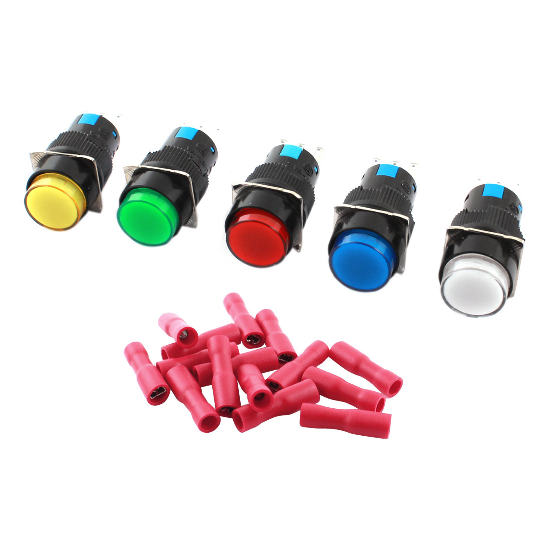 5Pcs AC 250V 5A Assorted Color Button 3Pins 16mm Threaded Panel Mounted SPDT Momentary Round Pushbutton Switch + 15pcs Crimp Terminals