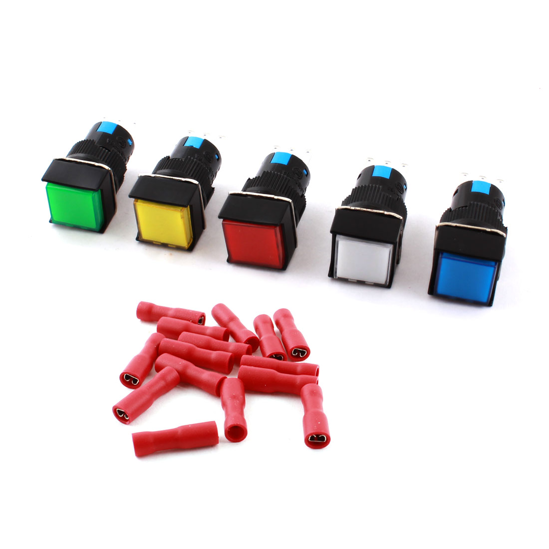5pcs AC 250V 5A Momentary Square Push Button Switch w Spade Connector