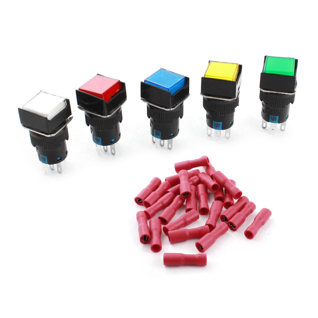 5Pcs DC 12V Pilot Light Lamp 5Pins 16mm Threaded Panel Mount SPDT Non Locking Square Push Button Switch + 25pcs Female Terminals