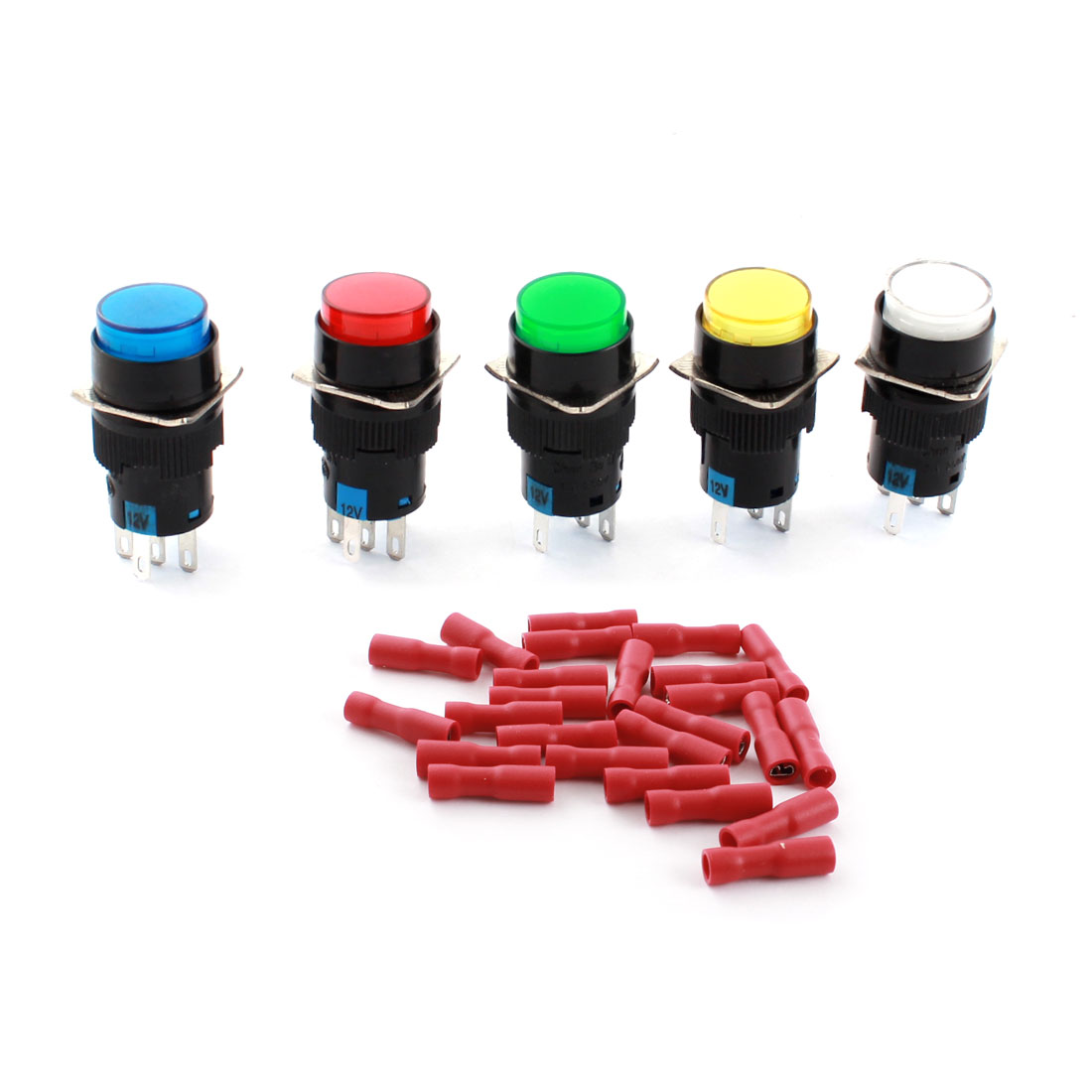 5PCS DC 12V Assorted Color Indicator Light Lamp 5Pins 16mm Threaded Panel Mounted SPDT Momentary Round Pushbutton Switch + 25pcs Crimp Connectors