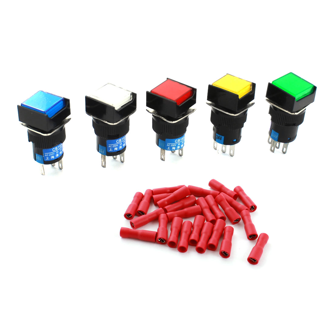 5pcs DC 24V Lamp Momentary Square Push Button Switch + Insulated Crimp Terminal