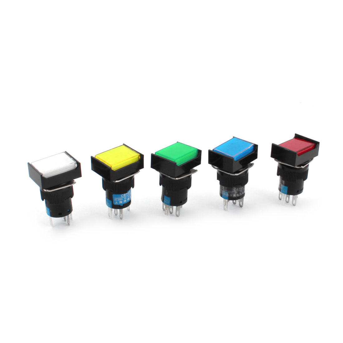 5Pcs AC 220V Five-Colored Indicator Light Lamp 16mm Threaded Panel Mount SPDT 1NO 1NC 5 Pins Locking Rectangle Head Pushbutton Switch