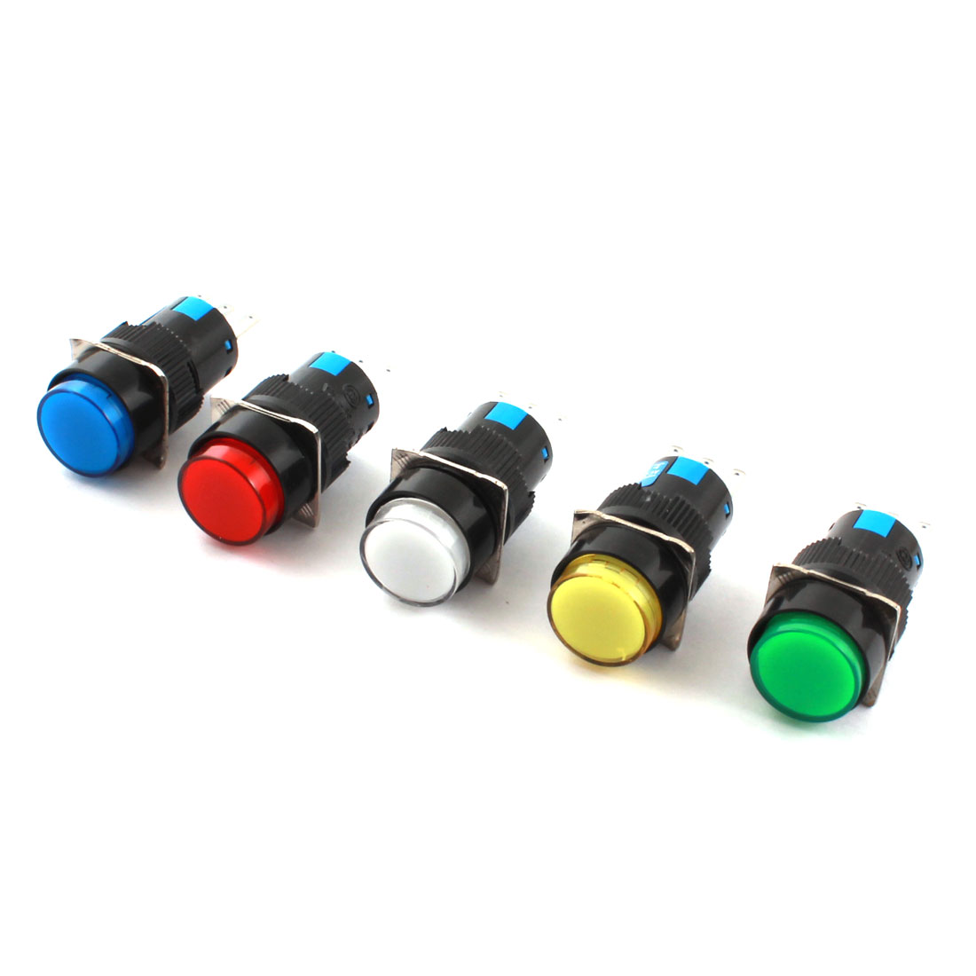5 Pcs AC 250V 5A Mixed Color Button 16mm Thread Panel Mount SPDT 3 Pins Locking Type Round Head Pushbutton Switch