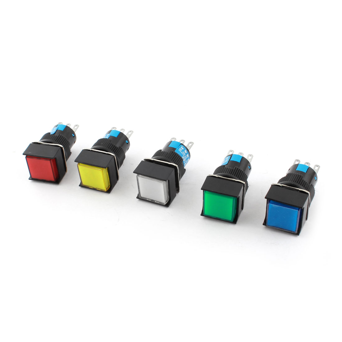 5 Pcs AC 250V 3A DC 30V 5A Assorted Color Button 16mm Thread Panel Mounted SPDT 3Pins Locking Square Pushbutton Switch