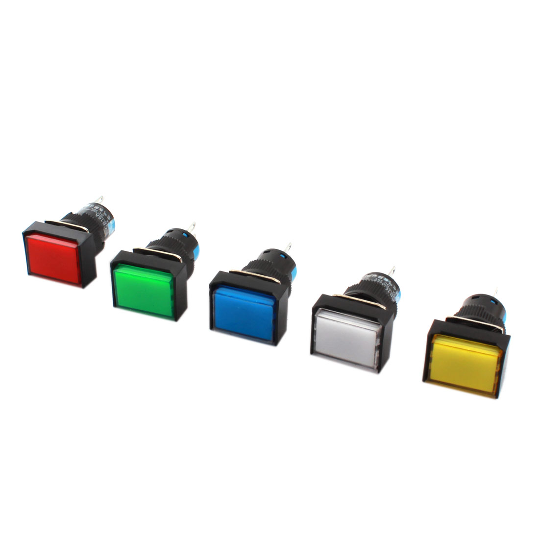 5 Pcs AC 250V 3A DC 30V 5A Assorted Color Button 16mm Thread Panel Mounted SPDT 3Pins Latching Type Rectangle Pushbutton Switch