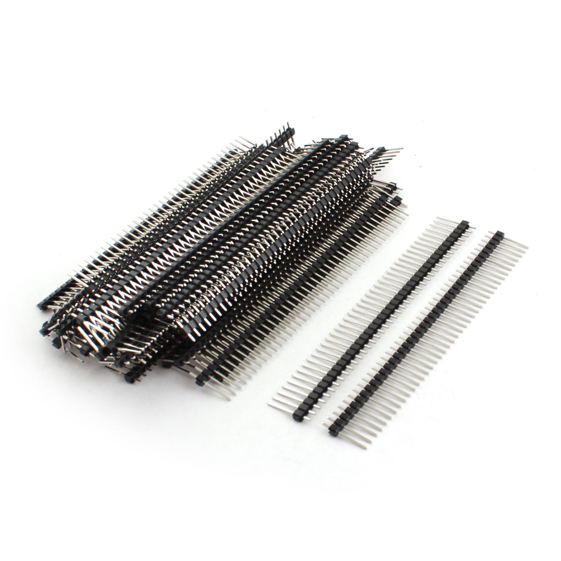 50Pcs 2.54mm Pitch Single Row 40Pin Male Through Hole Straight Pin Header Connector Strip 15mm Length