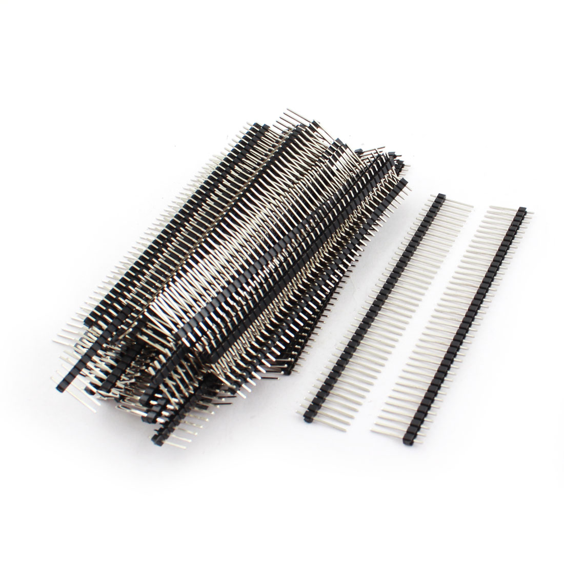 50 Pcs 2.54mm Pitch 40Pin Male Single Row Through Hole Straight Pin Header Connector Strip 17mm Length