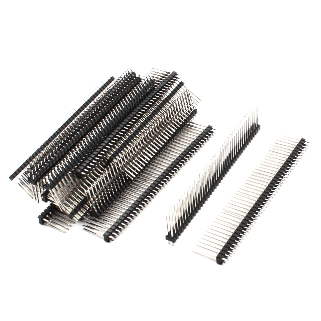 20Pcs 2.54mm Pitch Double Row 80-Pin Male Through Hole Straight Pin Header Connector Strip 20mm Length