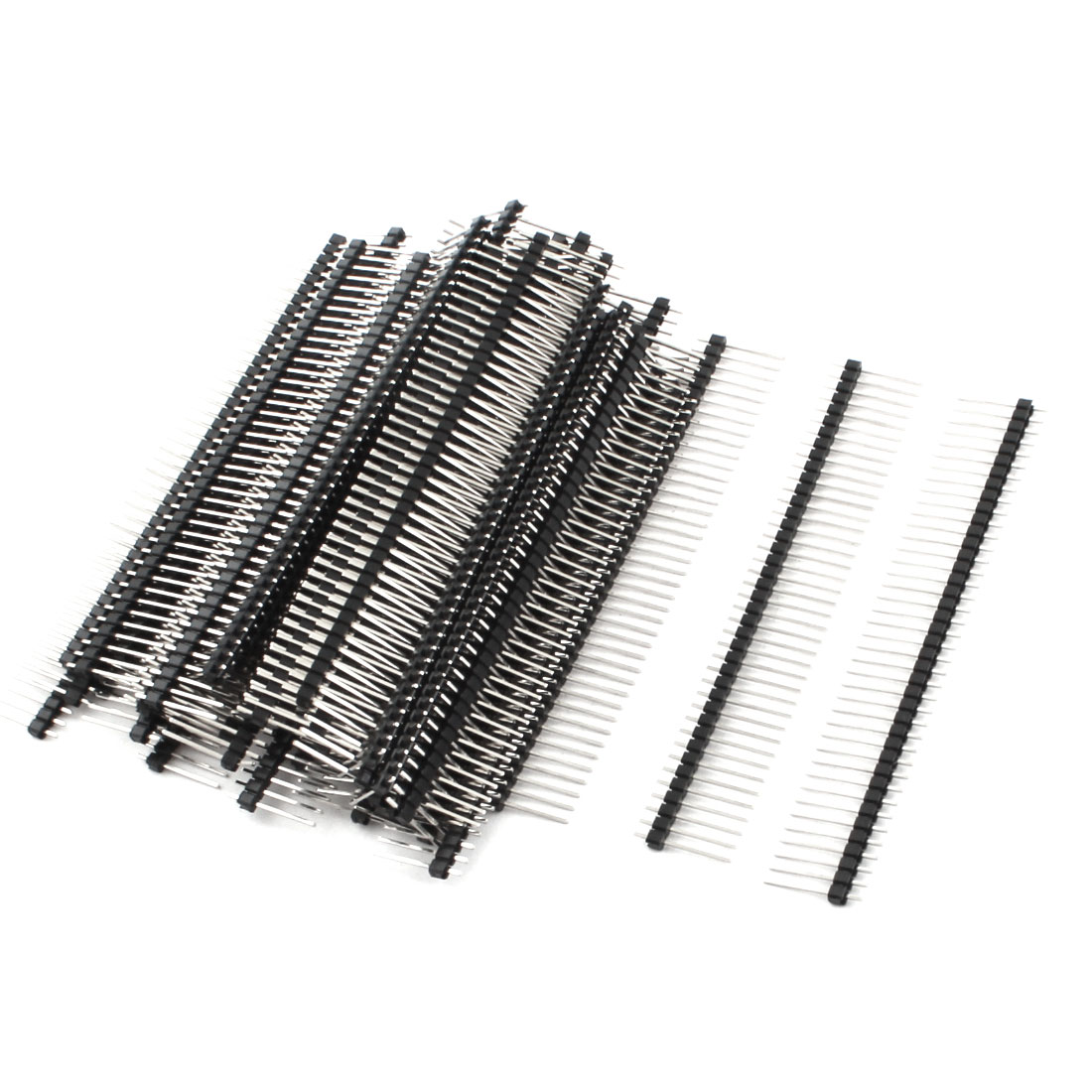 50Pcs 2.54mm Pitch Single Row 40-Pin Male Through Hole Mount Pin Header Connector Strip 17mm Length