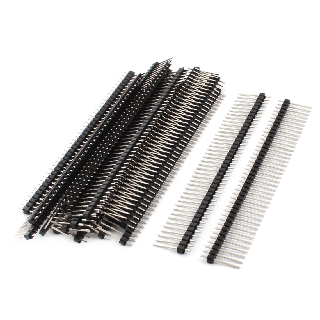 20 Pcs 2.54mm Pitch One Row 40Pin Male Through Hole Straight Pin Header Strip Connector 16mm Length