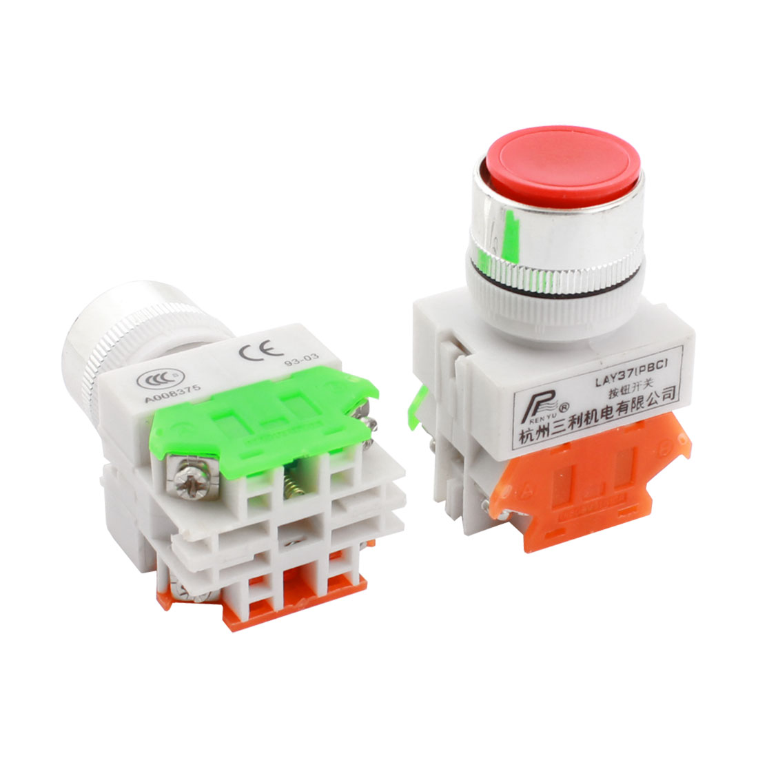 2 Pcs AC600V 10A 24mm Dia Thread Panel Mount DPST 4 Screw Terminals Momentary Red Plastic Head Push Button Switch