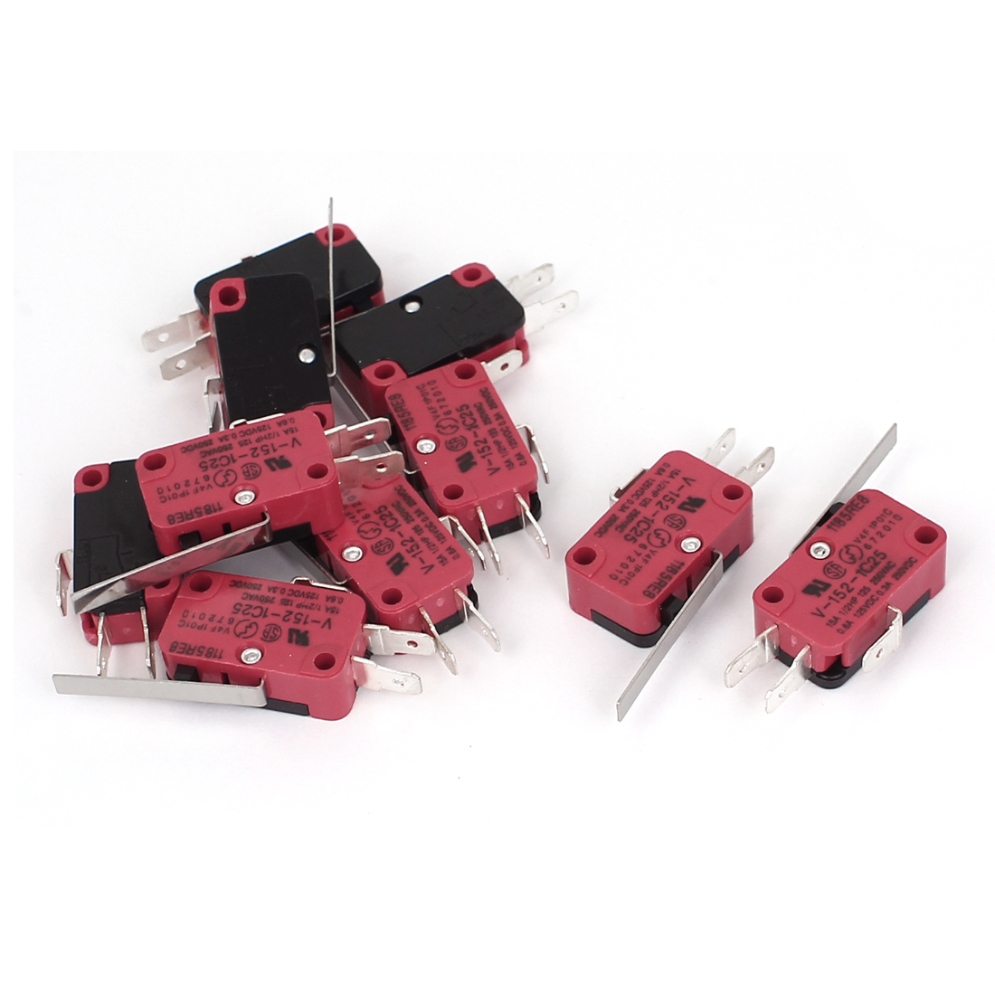 10Pcs SPDT 3-Pin 1NO 1NC Momentary Push Long Straight Hinge Lever Actuator Micro Switch AC250V 15A