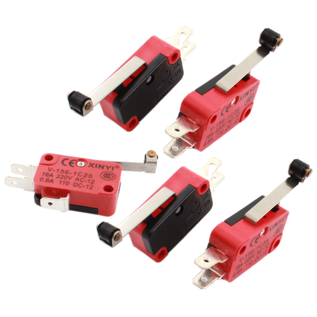 5 Pcs Mini Micro Limit Switch Long Hinge Roller Lever Arm SPDT Snap Action LOT
