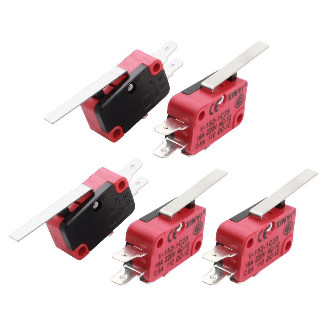 5Pcs AC220V 16A SPDT 3Pin 1NO 1NC Momentary Long Straight Hinge Lever Black Red Plastic Micro Switch