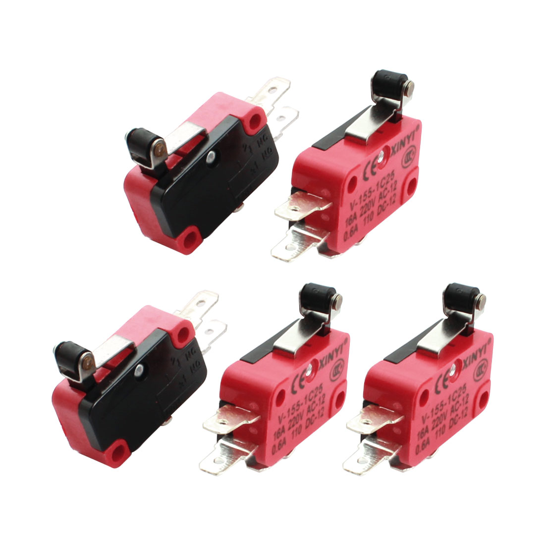 5 Pcs V-155-1C25 Micro Limit Switch Short Hinge Roller Lever Arm Momentary SPDT Snap Action