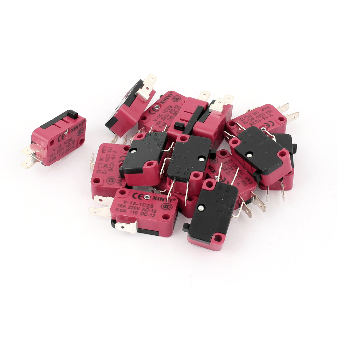 15 Pcs AC 220V 16A Micro Limit Switch Button Momentary Snap Action CNC
