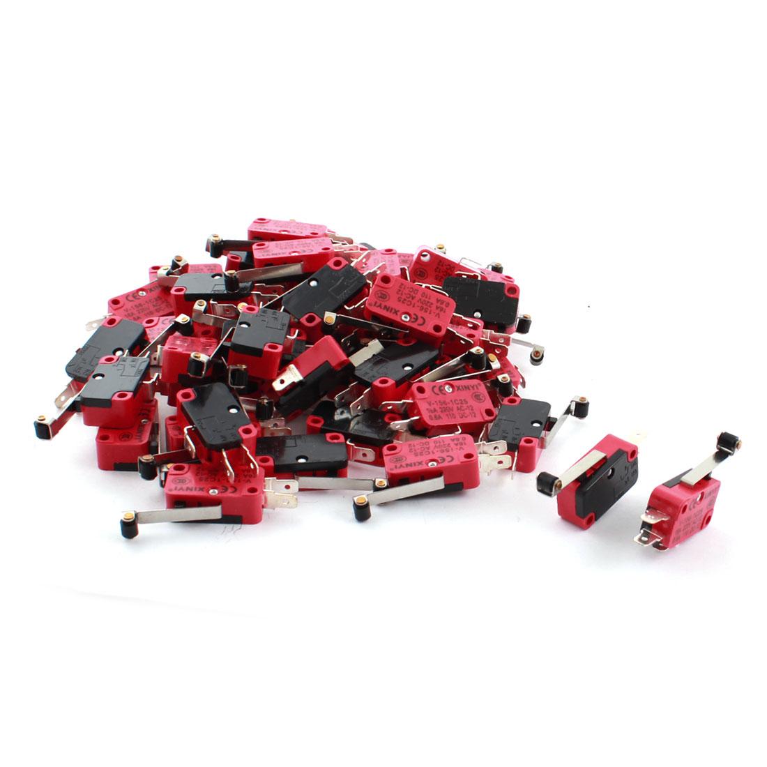 50 Pcs Mini Micro Limit Switch Long Hinge Roller Lever Arm SPDT Snap Action LOT