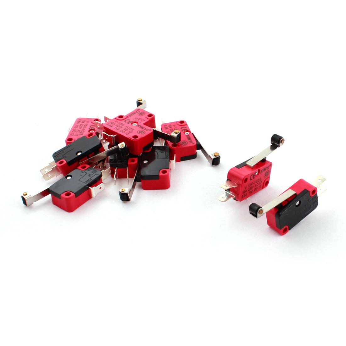10 Pcs V-156-1C25 Micro Limit Switch Long Hinge Roller Lever Arm SPDT Snap Action LOT