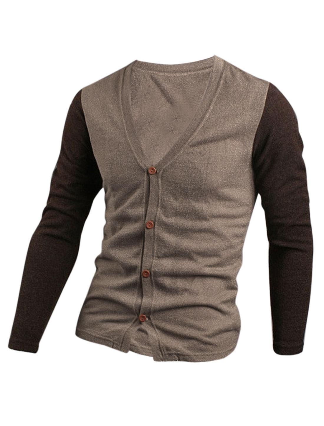 Men V Neck Single Breasted Color Block Slim Casual Cardigan Sand M