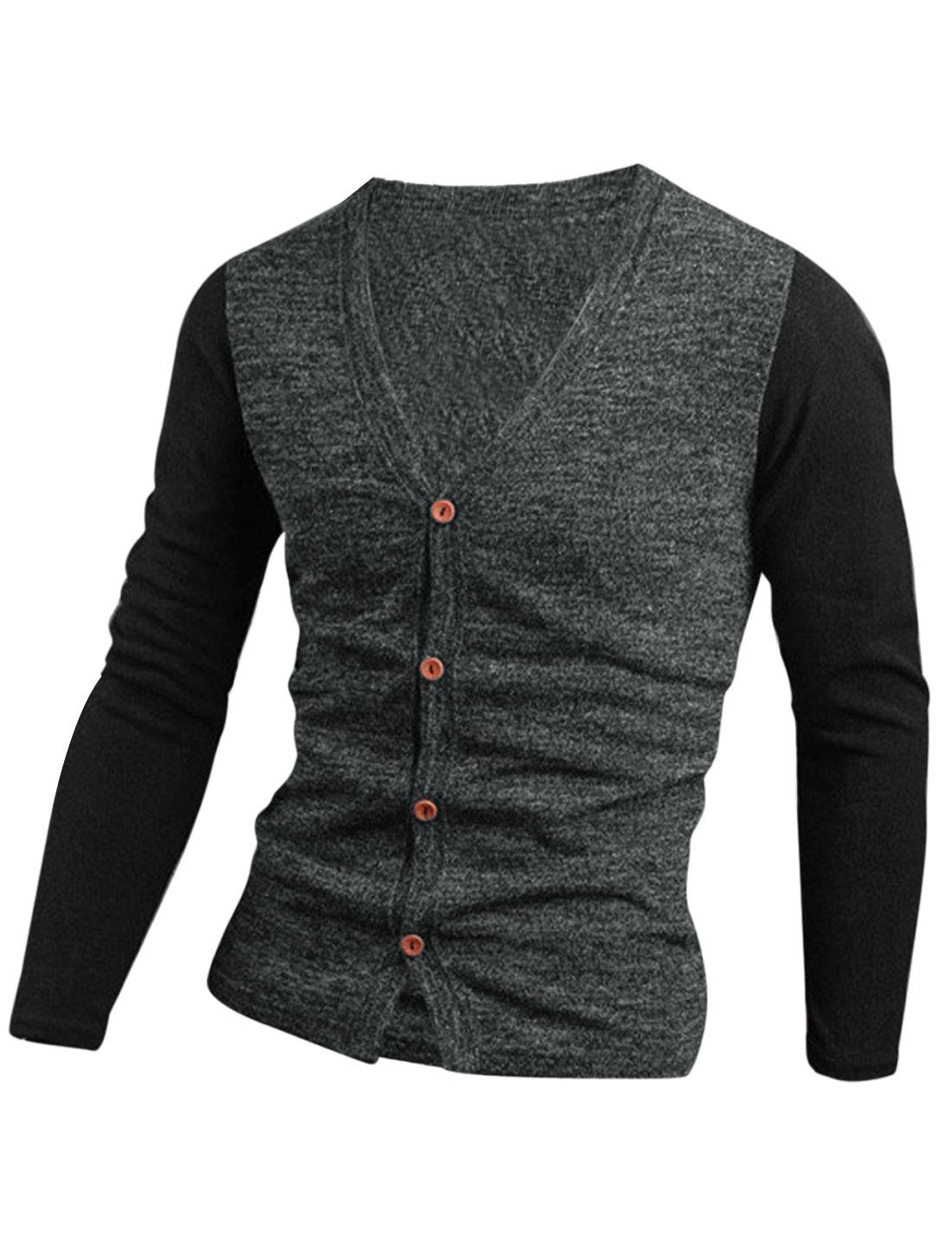 Men Contrast Color Single Breasted Casual Cardigan Dark Gray M