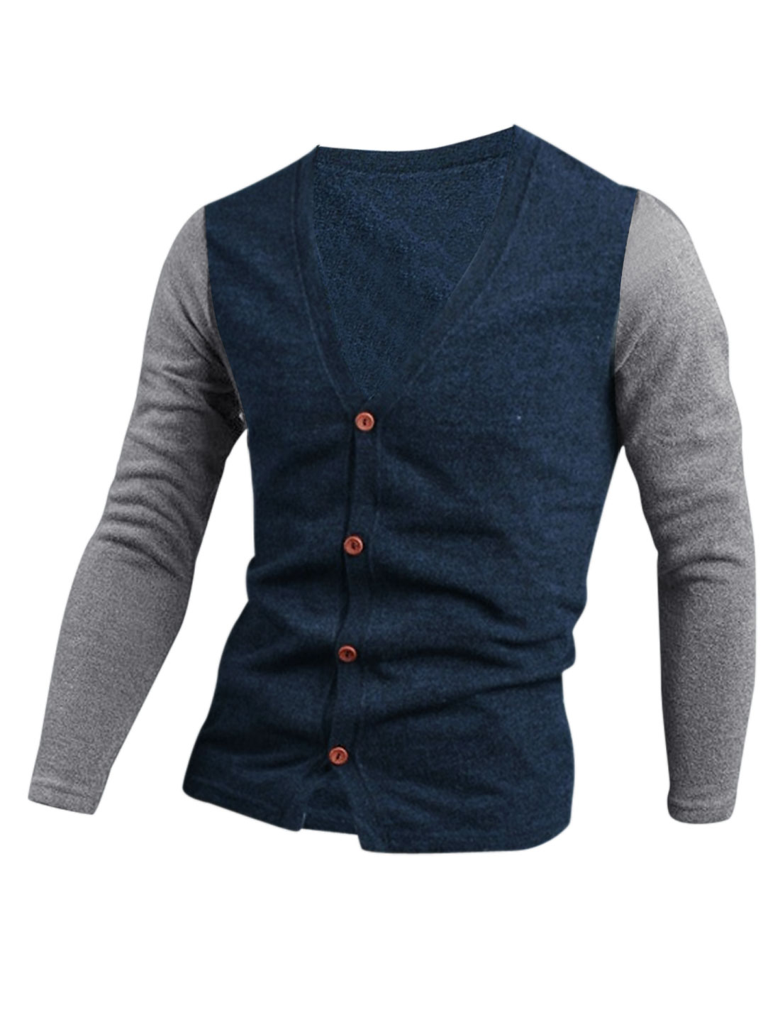Men V Neck Button Closure Front Color Block Cardigan Navy Blue M