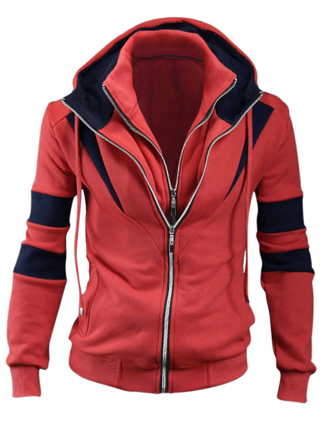 Men Convertible Collar Zip-Up Layered Hooded Jacket Watermelon Red M