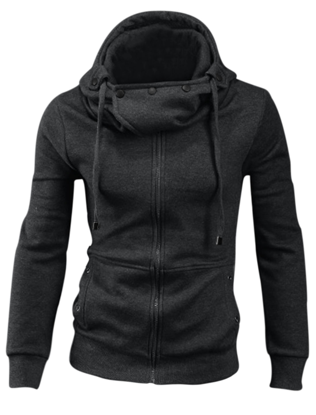 Men Convertible Collar Long Sleeve Zipper Closure Casual Hoodie Dark Gray M