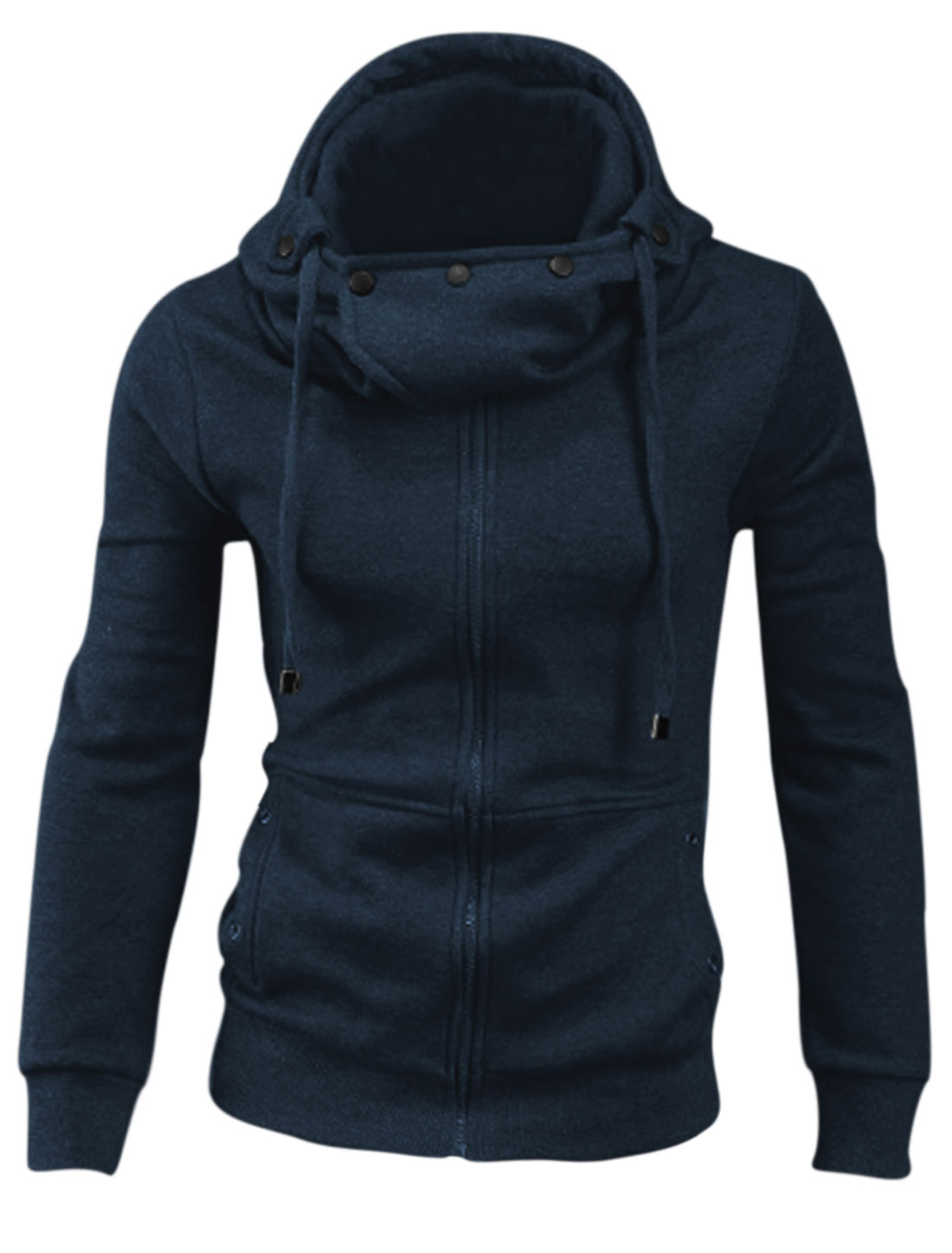 Men Drawstring Hood Double Seam Pocket Front Cozy Fit Hoodie Navy Blue M