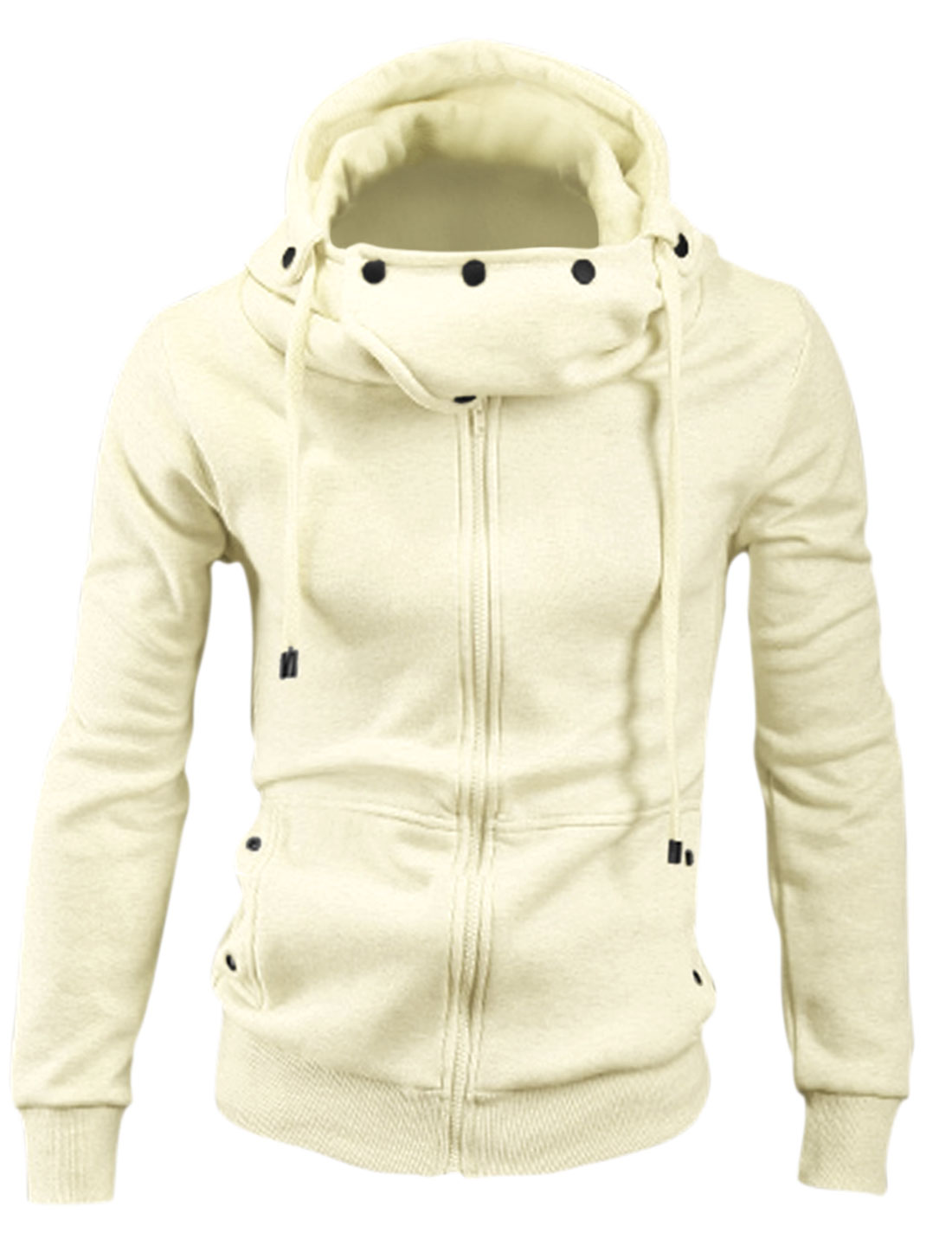 New Style Leisure Convertible Collar Zipper Closure Hoodie for Men Beige M