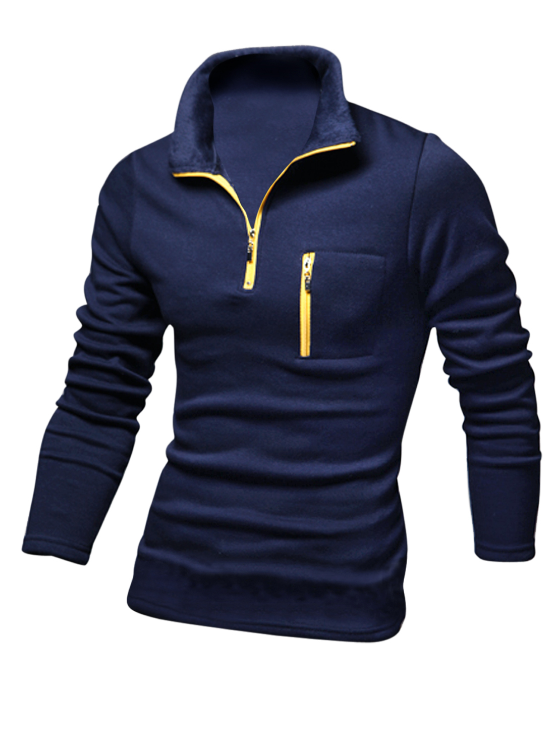 Men Convertible Collar Zip Up Front w Chest Pocket T-shirt Navy Blue M