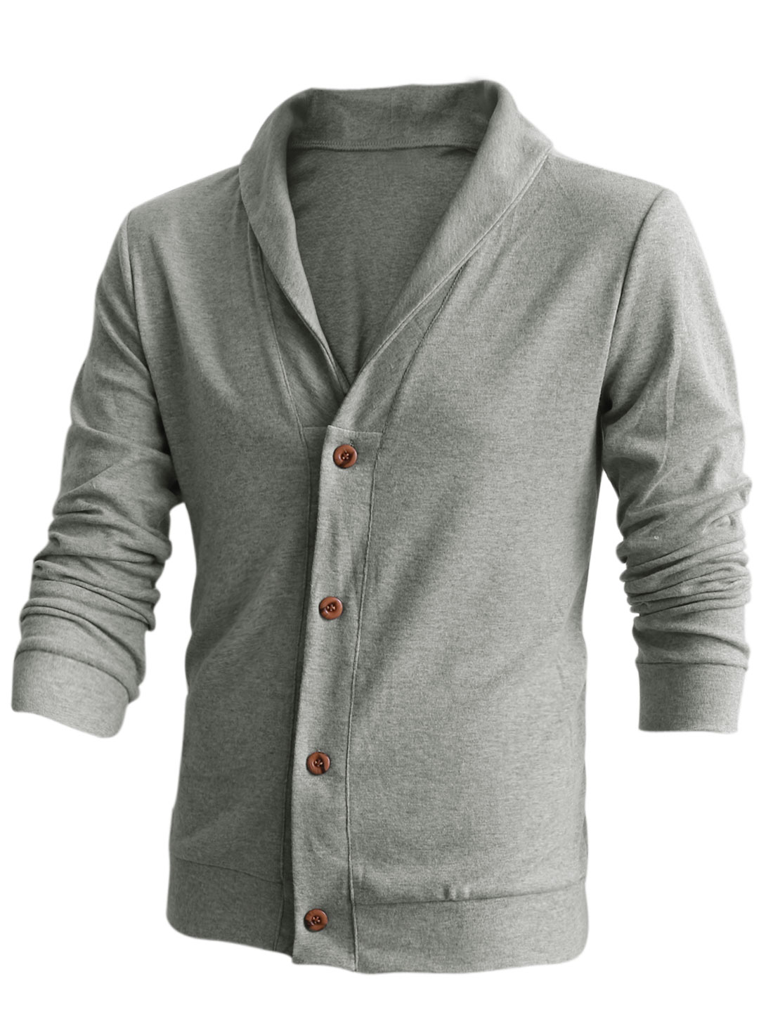 Men Shawl Collar Single Breasted Casual Cardigan Light Gray M