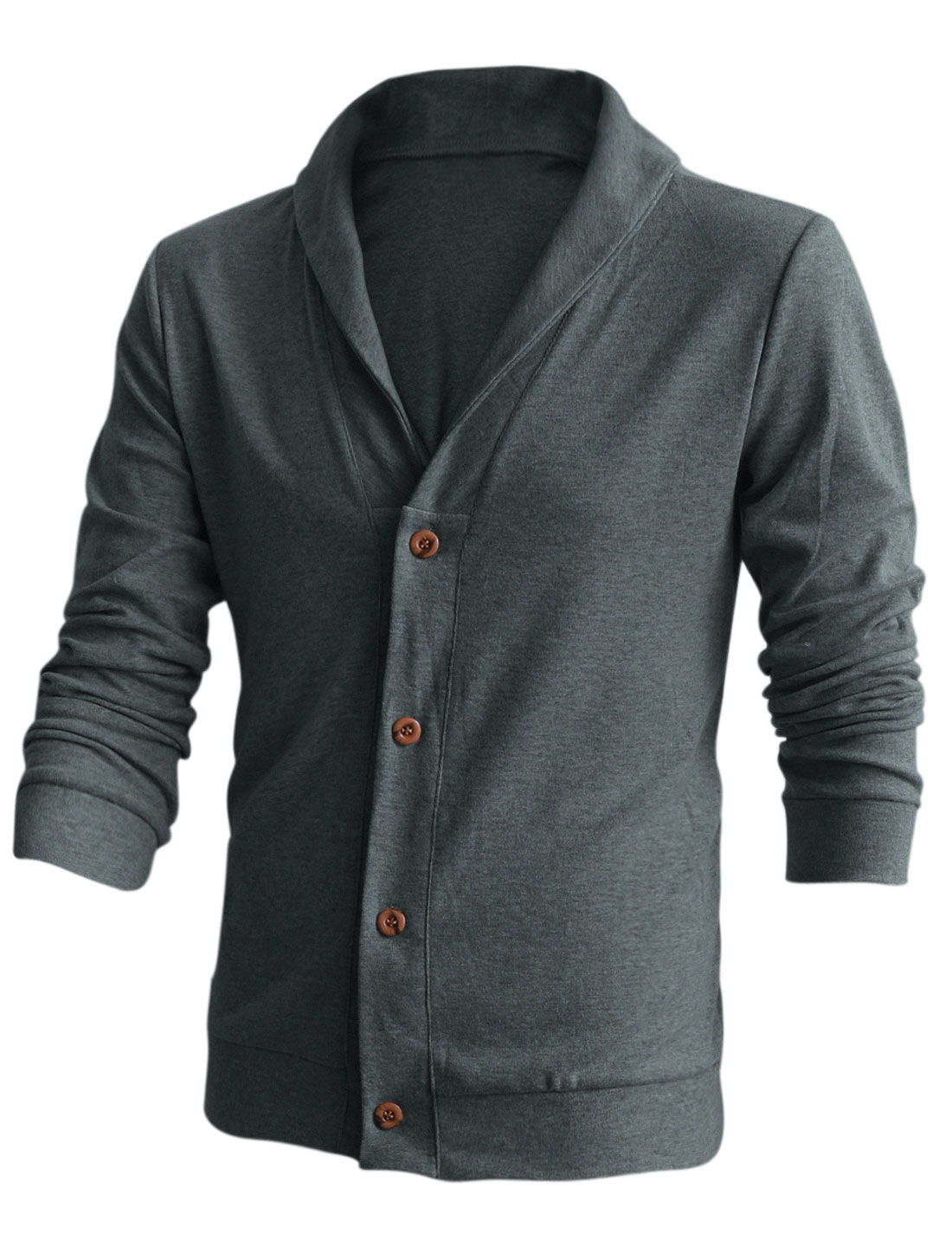 Men Soft Buttoned Closure Front Leisure Cardigan Dark Gray M