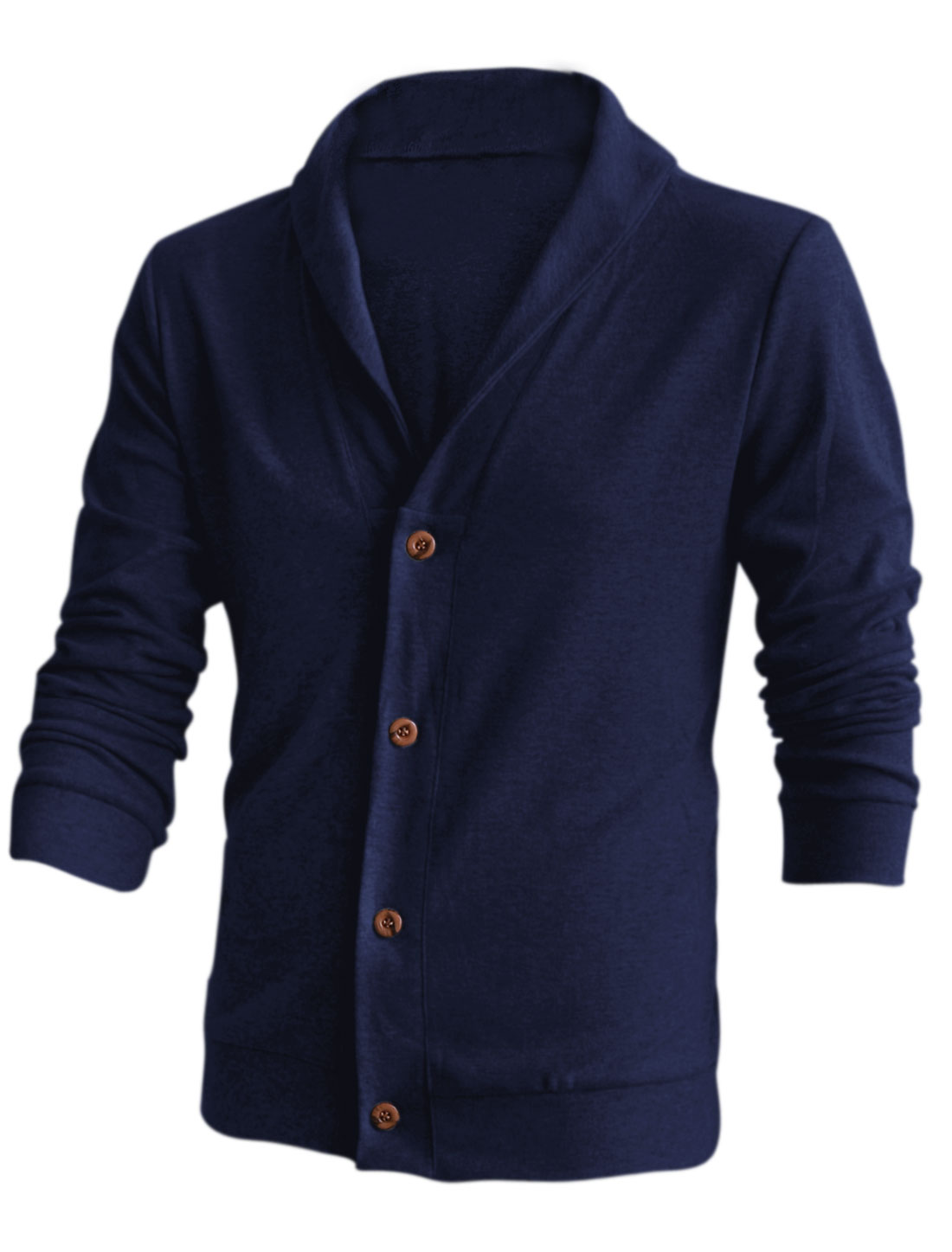 Men Shawl Collar Button Closure Front Soft Cardigan Dark Blue M