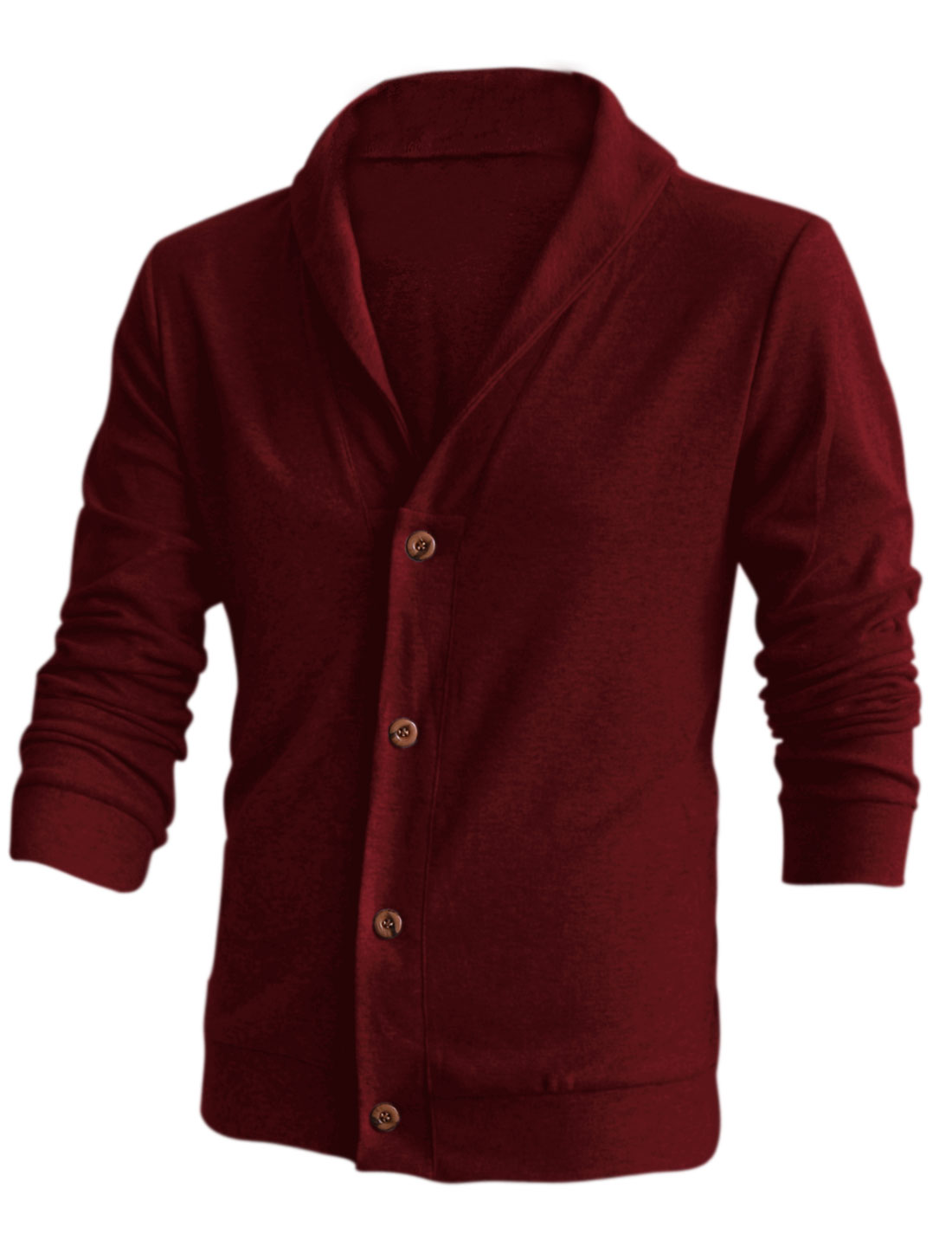 Slim Fit Casual Shawl Collar Fashion Cardigan for Men Burgundy M