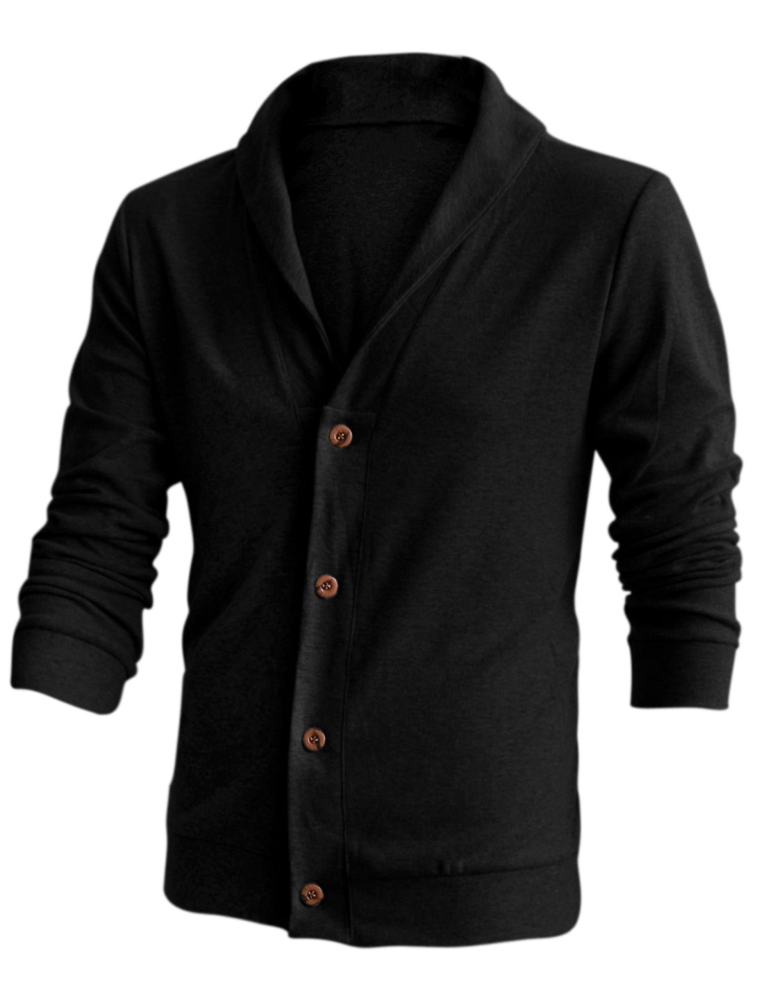New Style Soft Single Breasted Casual Cardigan for Men Black