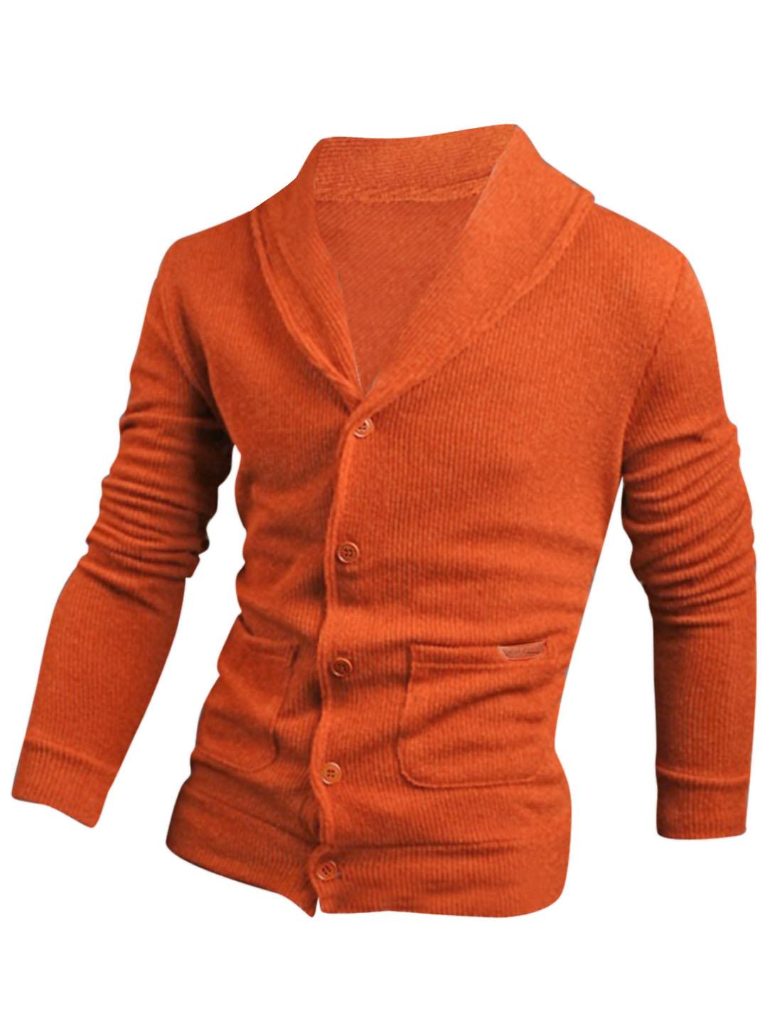 Men Single Breasted Imitation Leather Detail Cardigan Orange M