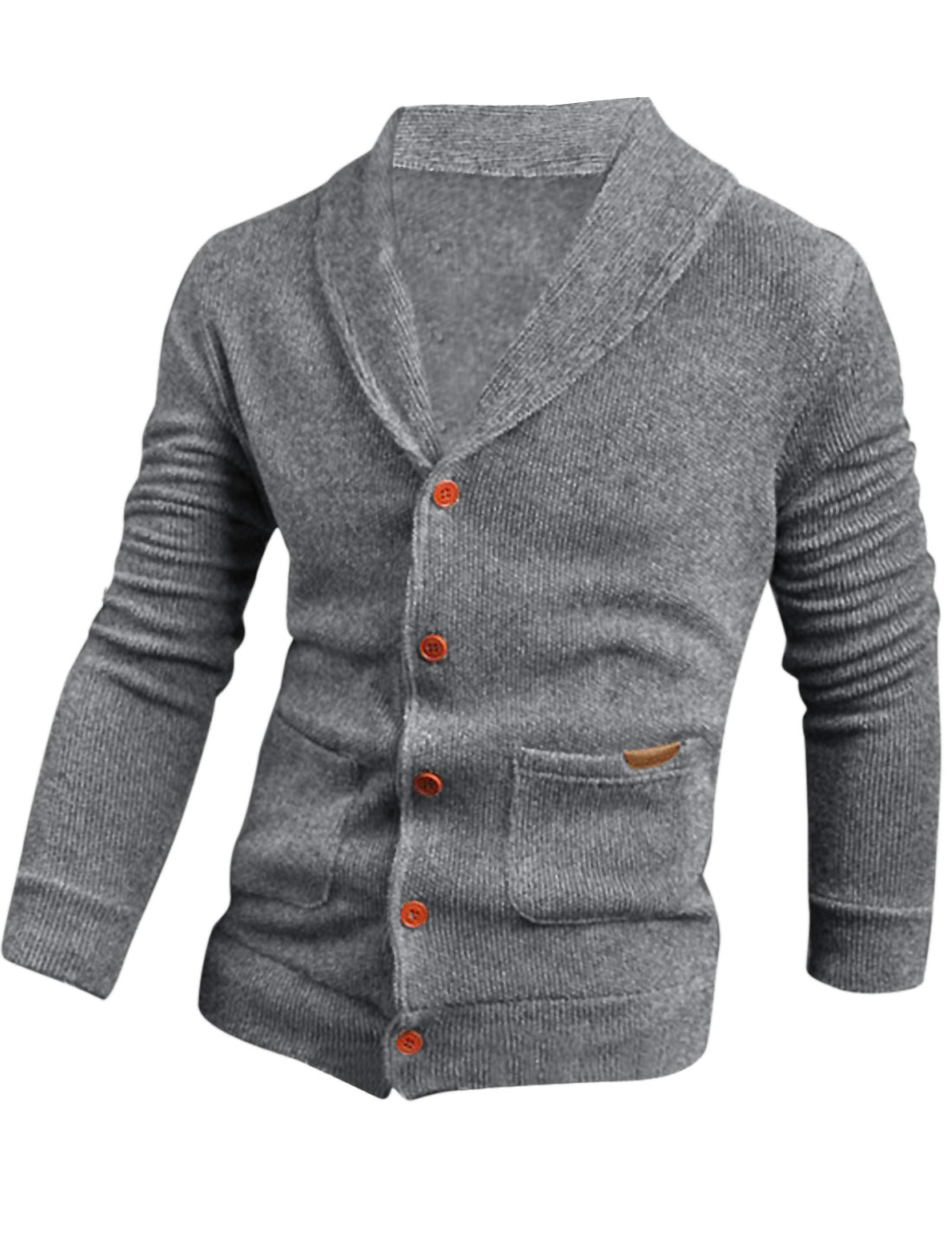 Men Single Breasted Double Vertical Pockets Slim Cardigan Light Gray M
