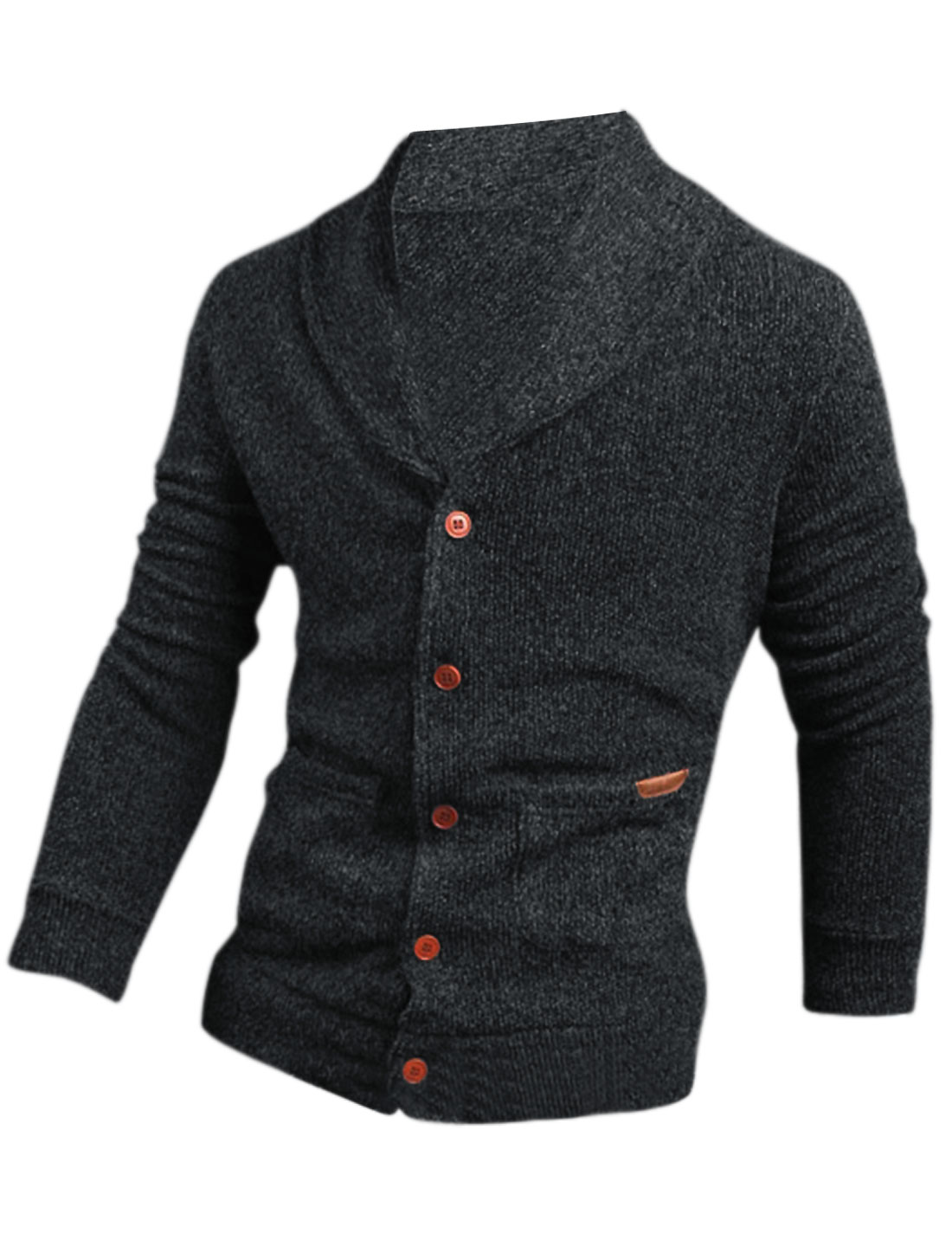 Men Shawl Collar Button Closure Front Slim Cardigan Dark Gray M