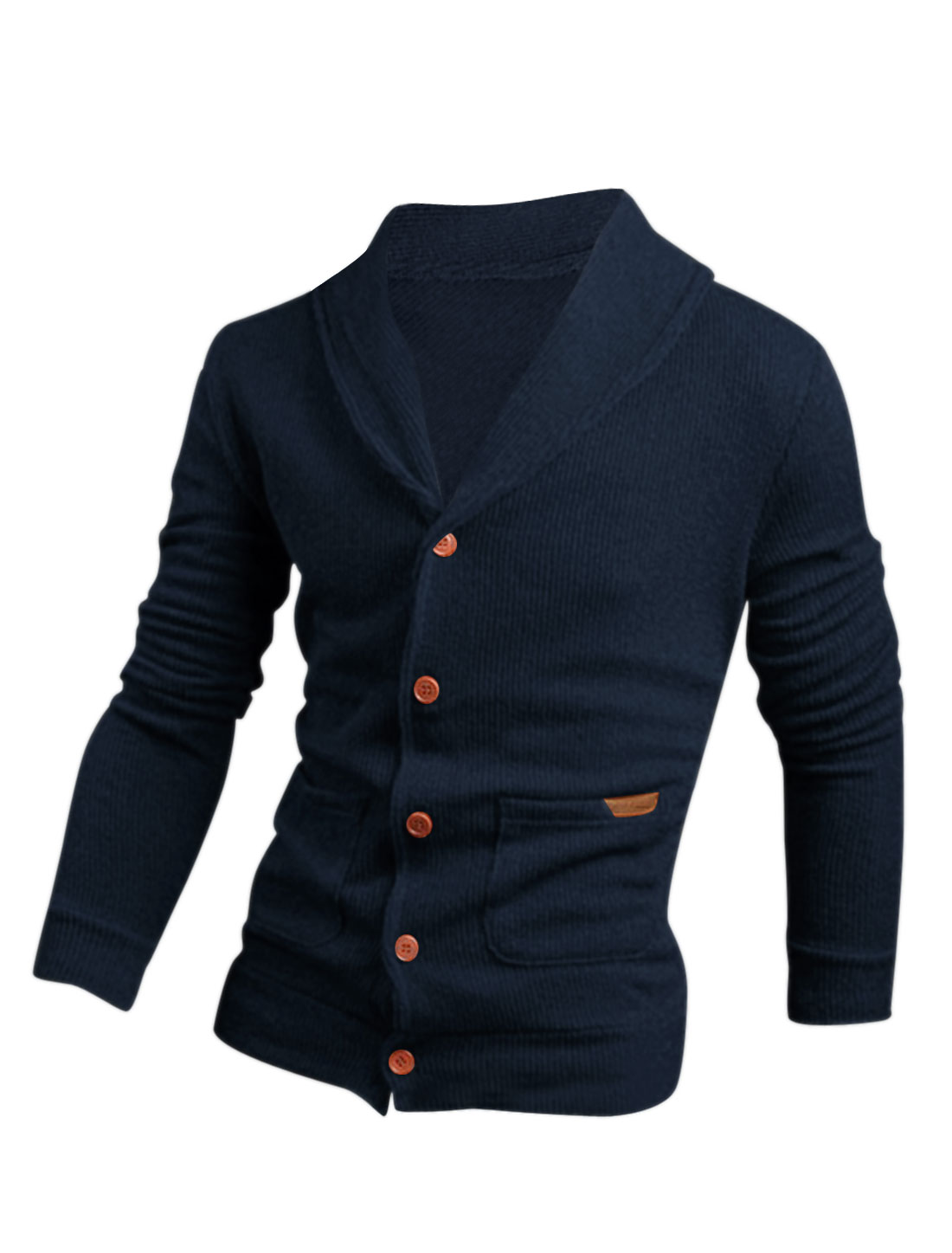 Men Button Closure Double Vertical Pockets Slim Cardigan Navy Blue M