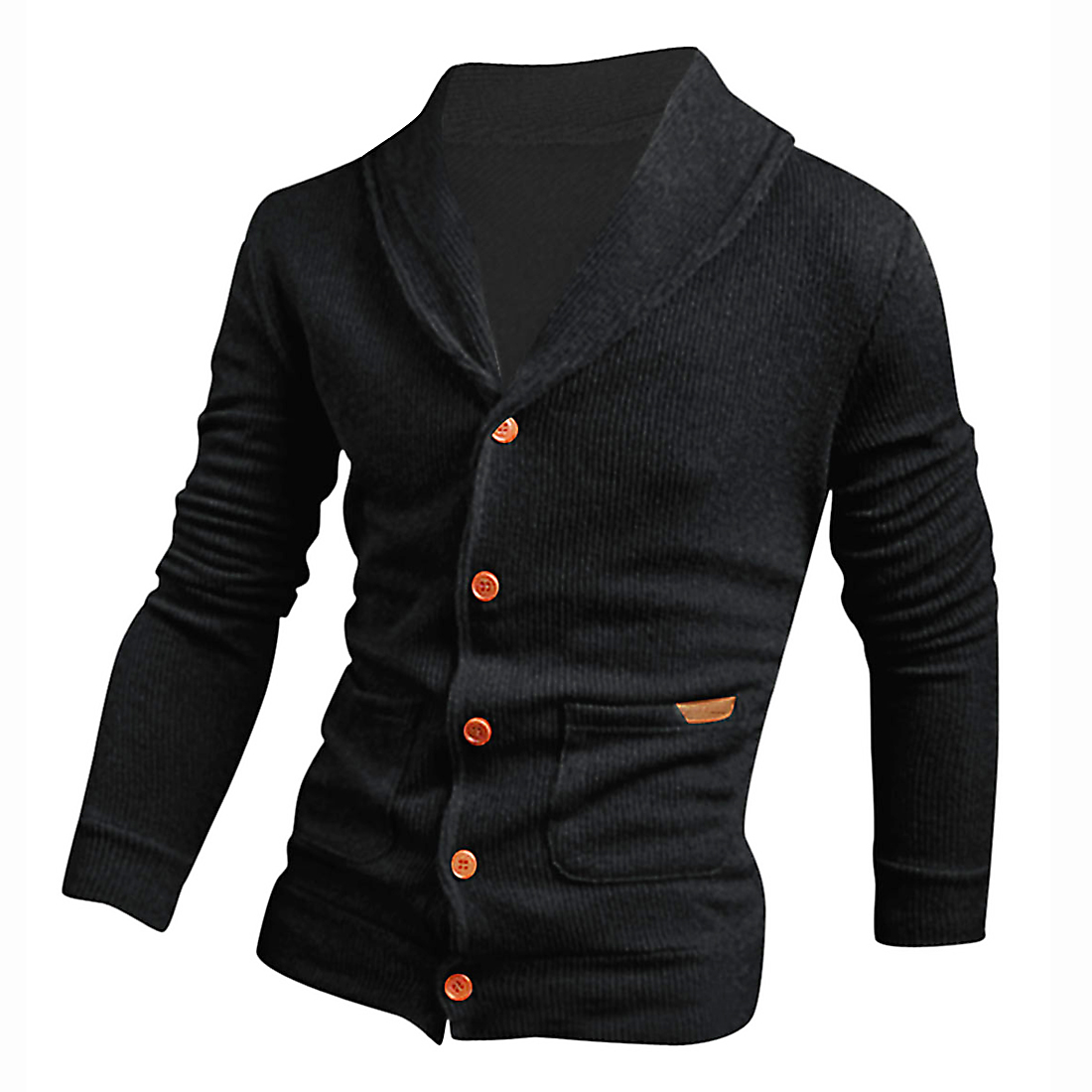 Men New Style Shawl Collar Button Closure Leisure Cardigan Black M