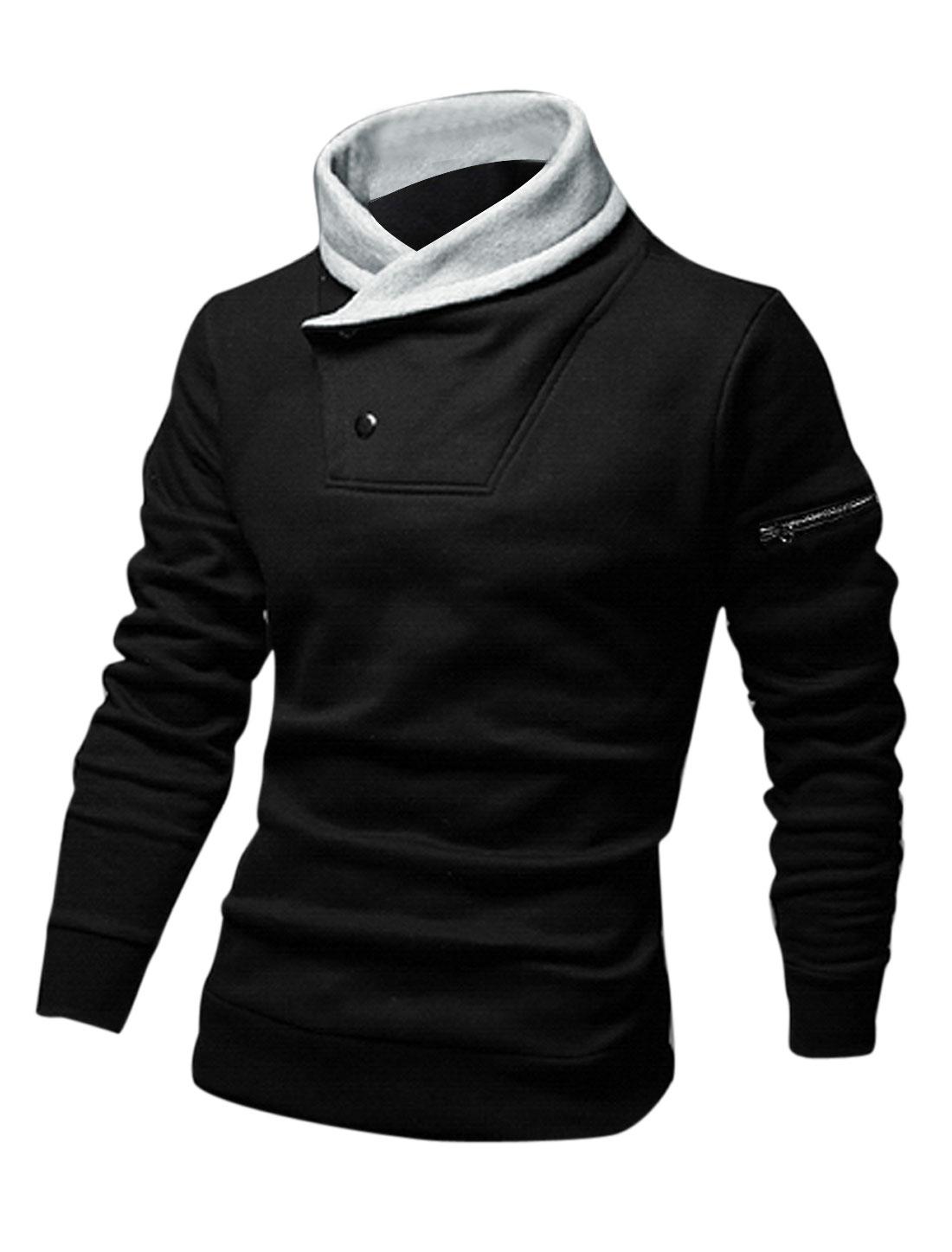 Men Cocoon Neck Fleece Lined Zipper Decor Casual Sweatshirt Black M