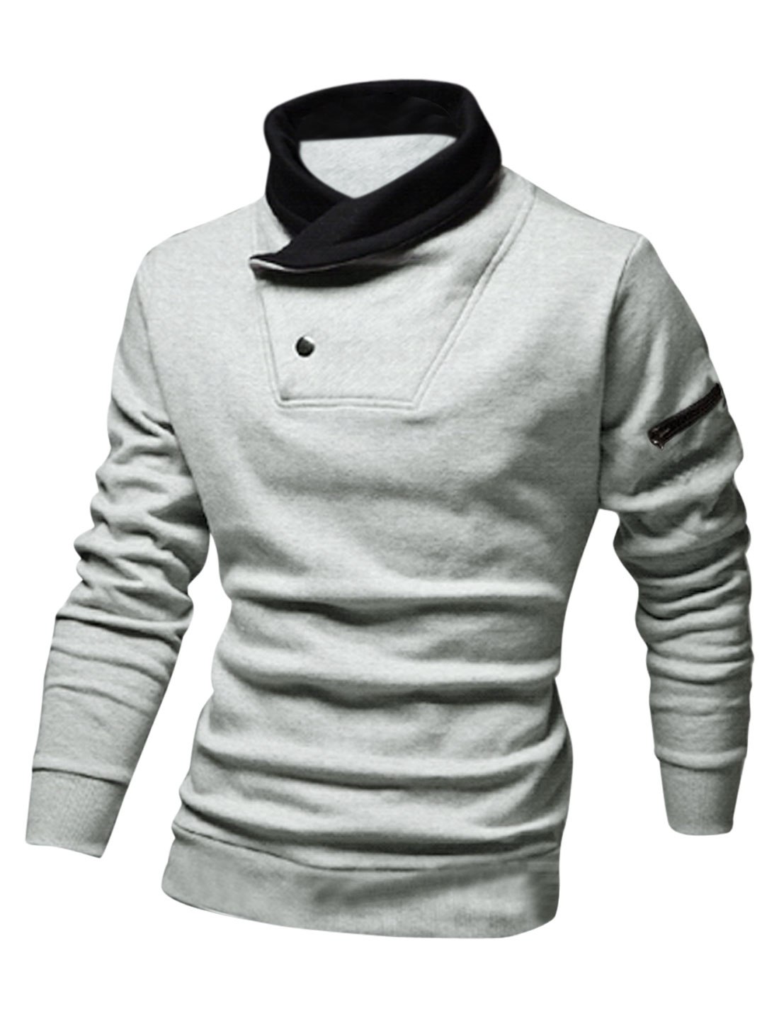 Men Contrast Collar Fleece Lined Zipper Decor Casual Sweatshirt Light Gray M