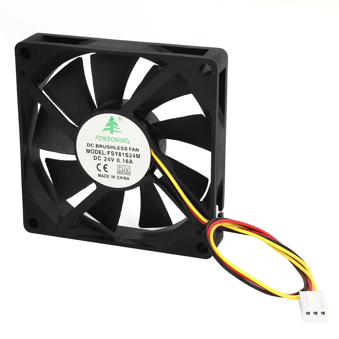 80mmx15mm 8cm 3 Pins Connector Plastic 9 Flabellums Cooling Fan DC 24V 0.16A Black for PC Computer Cases CPU Cooler Radiator
