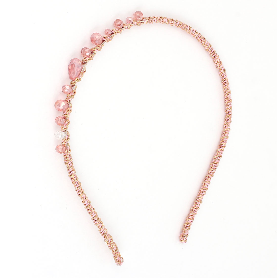 Plastic Mini Crystal Braid Slim Metal Hair Hoop Headband Pink for Ladies