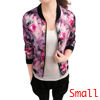 Women Long Sleeves Zipper Fly Floral Print Fashion Jacket Fuchsia S