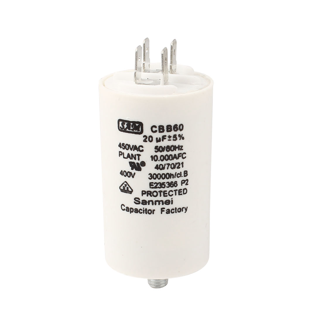 CBB60 Thread Rod Phase AC Motor Running Capacitor 450V 20uF