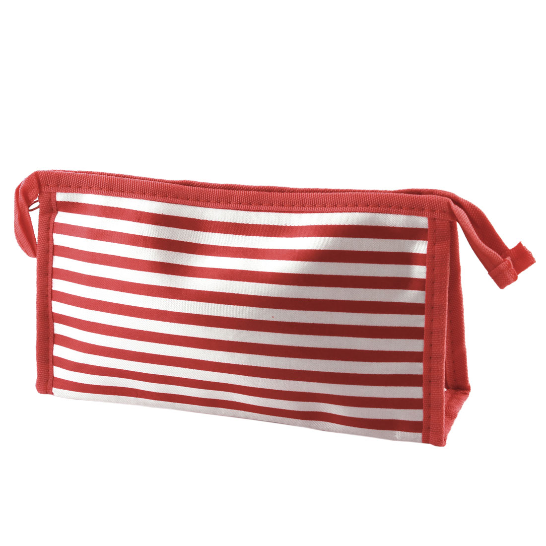 Lady Travel Pinstripe Printed Cosmetic Storage Holder Makeup Bag Red White