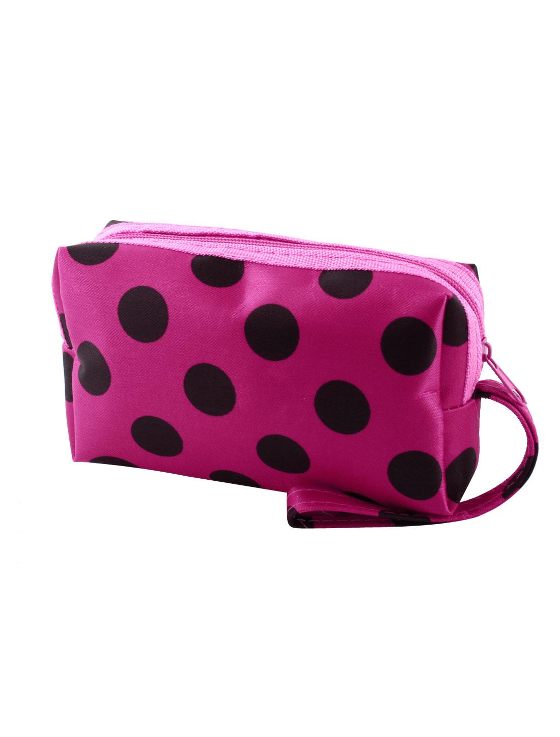 Black Dotted Pattern Zipper Closuer Wallet Change Pouch Purse Fuchsia