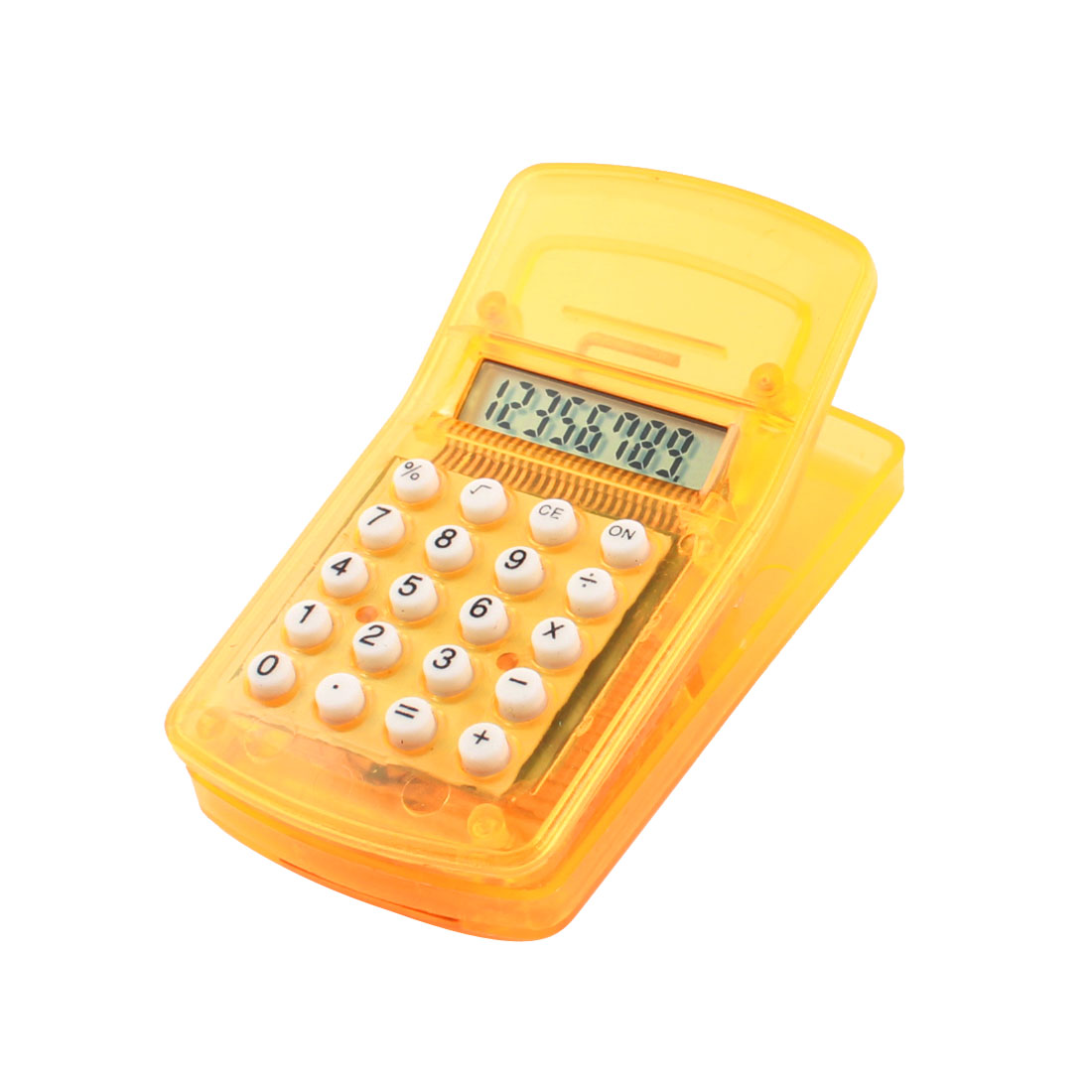 Plastic Mini Portable Clip Magnetic Sticker Electronic Calculator Yellow