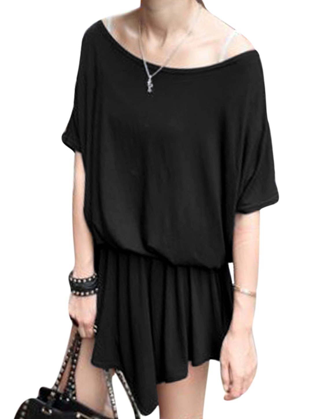 Women Short Batwing Sleeves Stretchy Waist Uneven Hem Casual Dress Black S